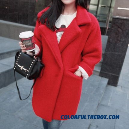 The Latest Fashion Women Wear Slim Red Woolen Coats High Quality
