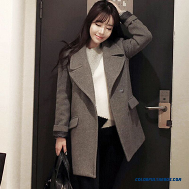 The Latest Fashion Women Wear Slim Single-breasted Grey Woolen Coats