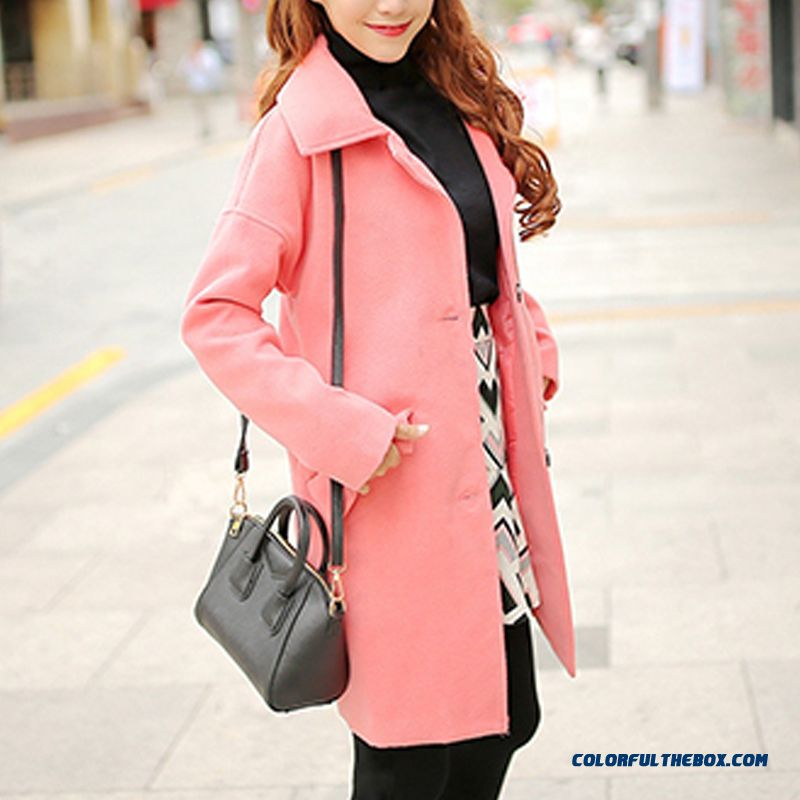 The Latest Fashion Women Wear Slim Single-breasted Solid Color Pink Woolen Coats