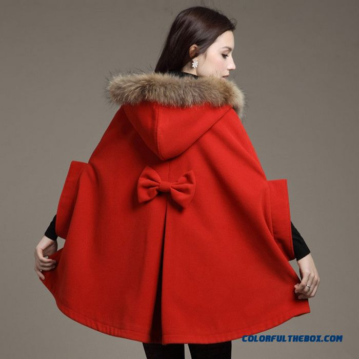 The Latest Fashion Women Wear Woolen Coats Loose Large Size Red Bat Sleeve Mantle