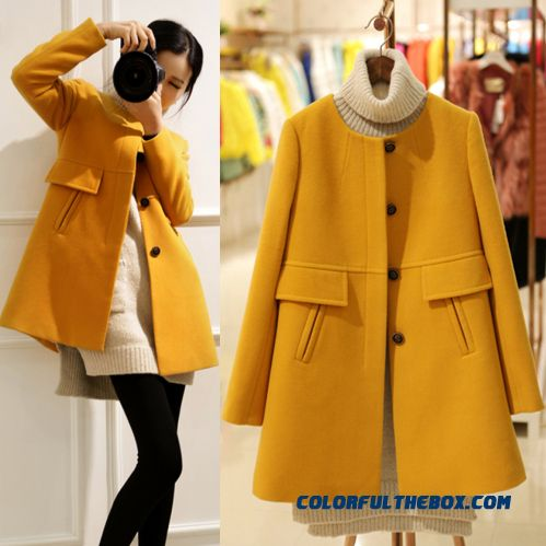 The Latest Fashion Women Wear Woolen Coats Loose Large Size Slim Cacual Crew Neck
