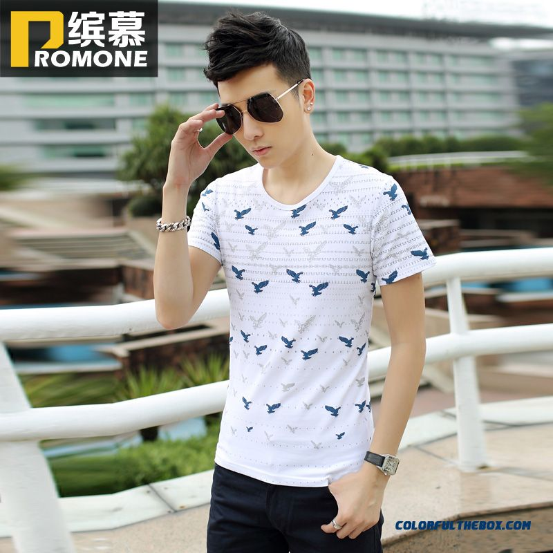 The Latest Summer Men's Short-sleeved Tees Slim Crew Neck Printed Tide