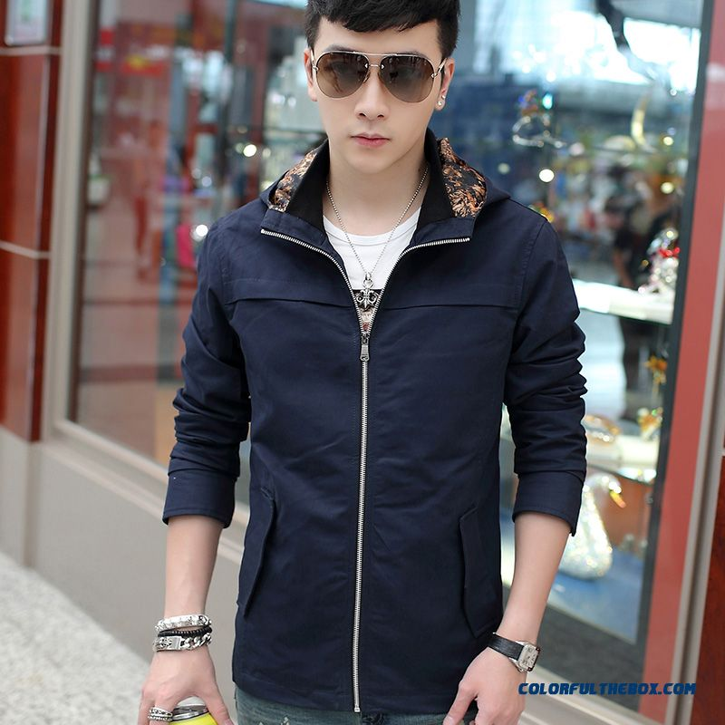 The New 2015 Spring And Autumn Men Casual Cotton Hooded Jacket Youth Slim Thin