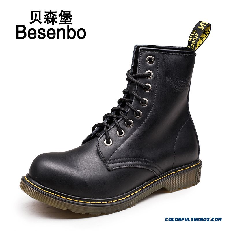 The New Autumn And Winter Men's Leather Boots Martin Lace Warm Shoes