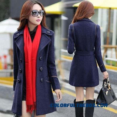 The New Autumn And Winter Women Woolen Coat Medium Style Slim Green Red Mode