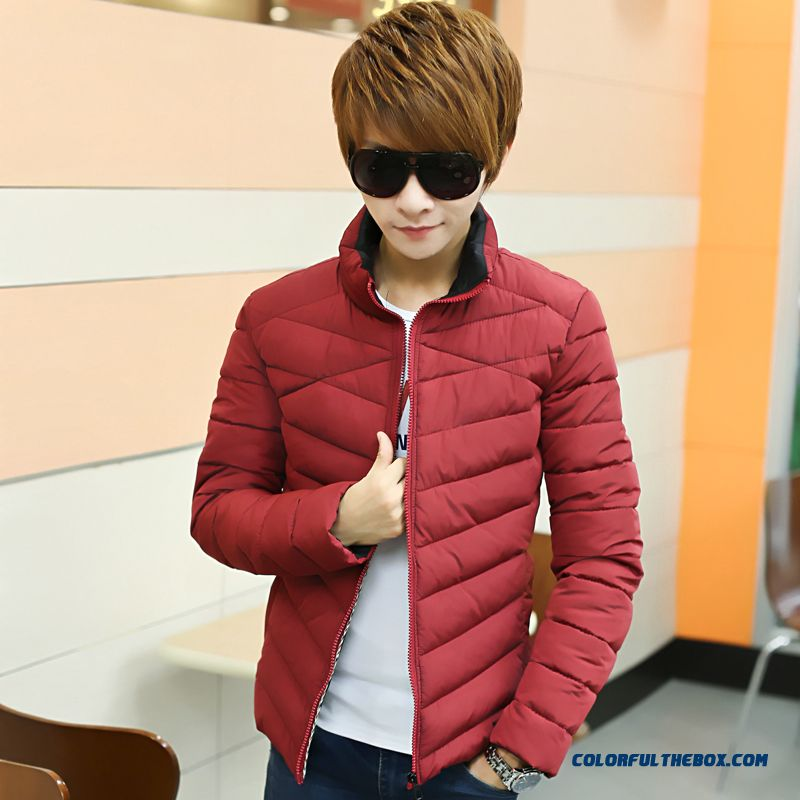 The New Men's Winter Coat Teen Slim Stand Collar Thick Tide Red - more images 1