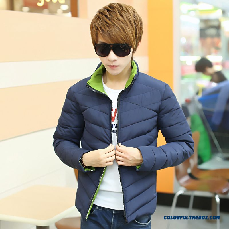 The New Men's Winter Coat Teen Slim Stand Collar Thick Tide Red - more images 4