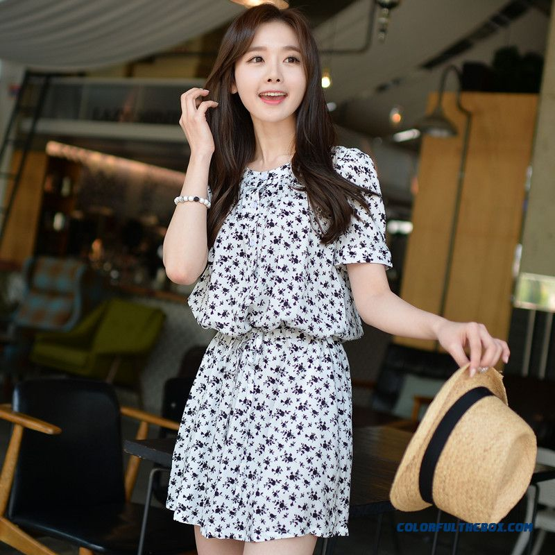 The New Short-sleeved Dress Girls Crew Neck Hight-waist Lantern Floral Women