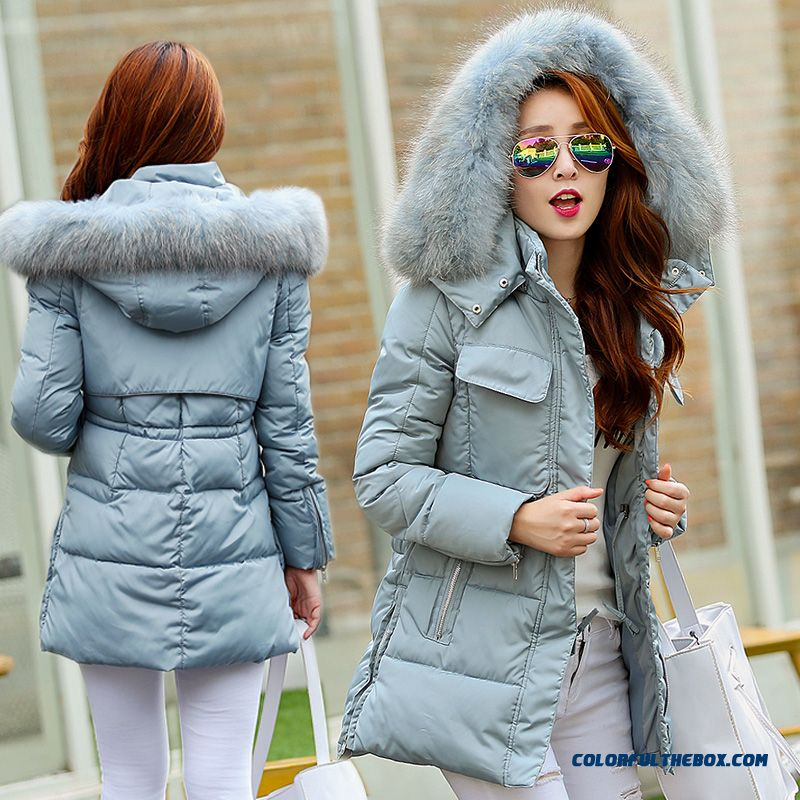 The Newest Style Fashionable Women Jackets Raccoon Ovo Collar Medium-long Thicken Blue