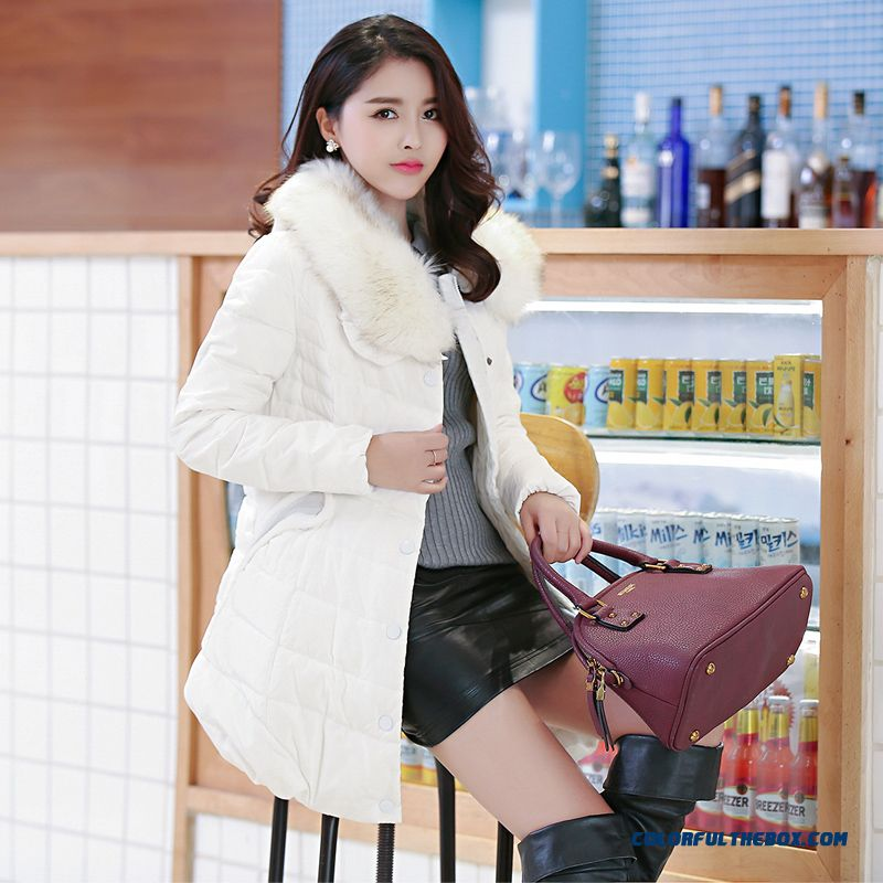 The Newest Style Fashionable Women Jackets White Ovo Collar Medium-long Slim