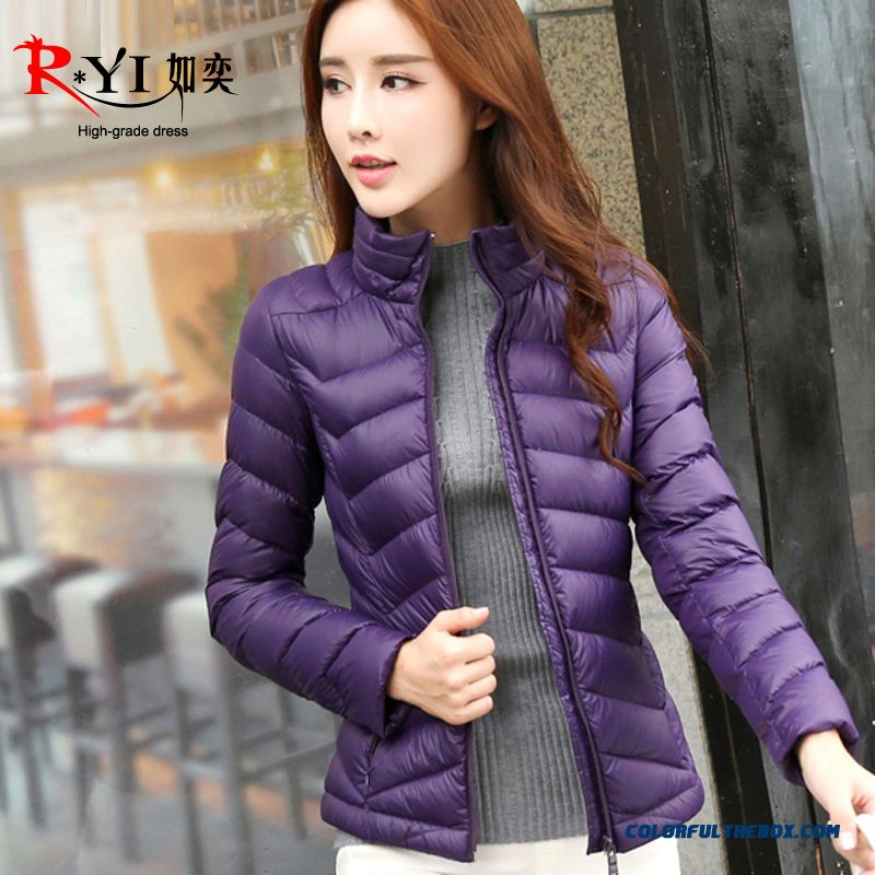 The Newest Style Fashionable Women Winter Slim Short Thin Purple Upscale