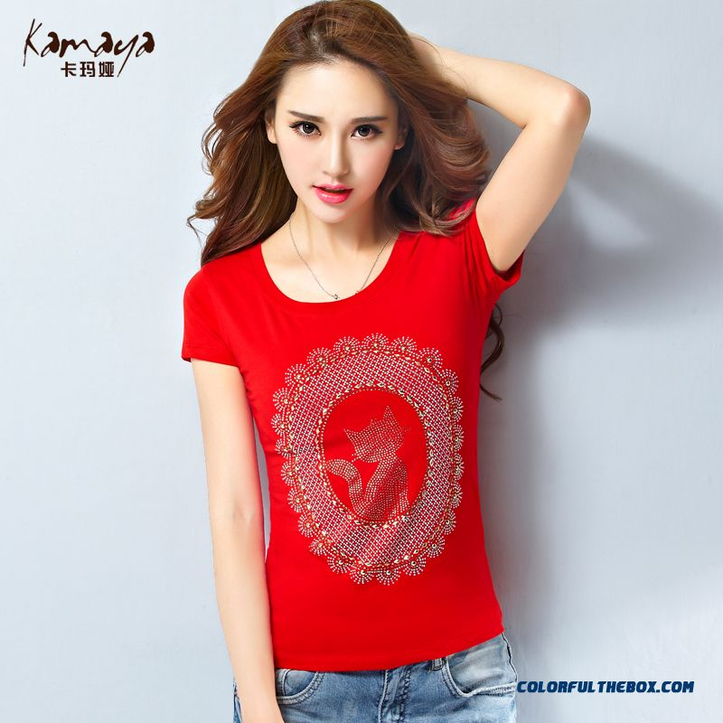 The Newest Style Slim And Thin Cat Printing Drilling Crew Neck T-shirt Women Summer