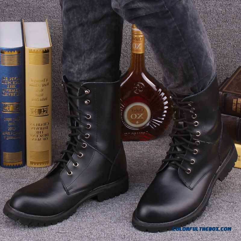 The Trend Of Youth Men Military Boots Winter Leather Black