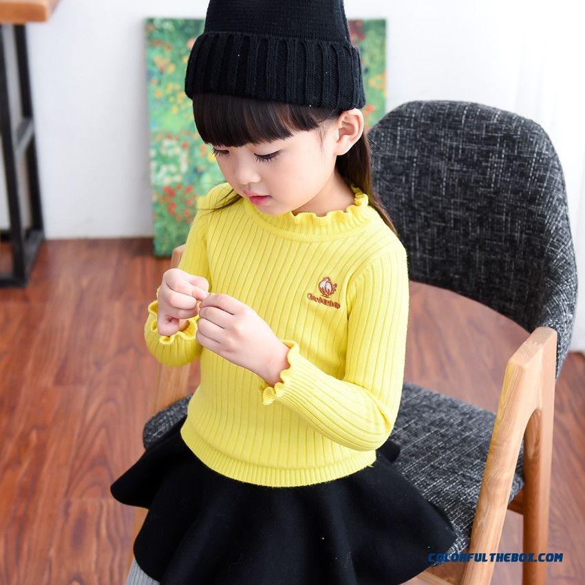 Thick Winter New Kids Clothing Girls Lace Collar Primer Shirt Pullover Knit Sweater Coat