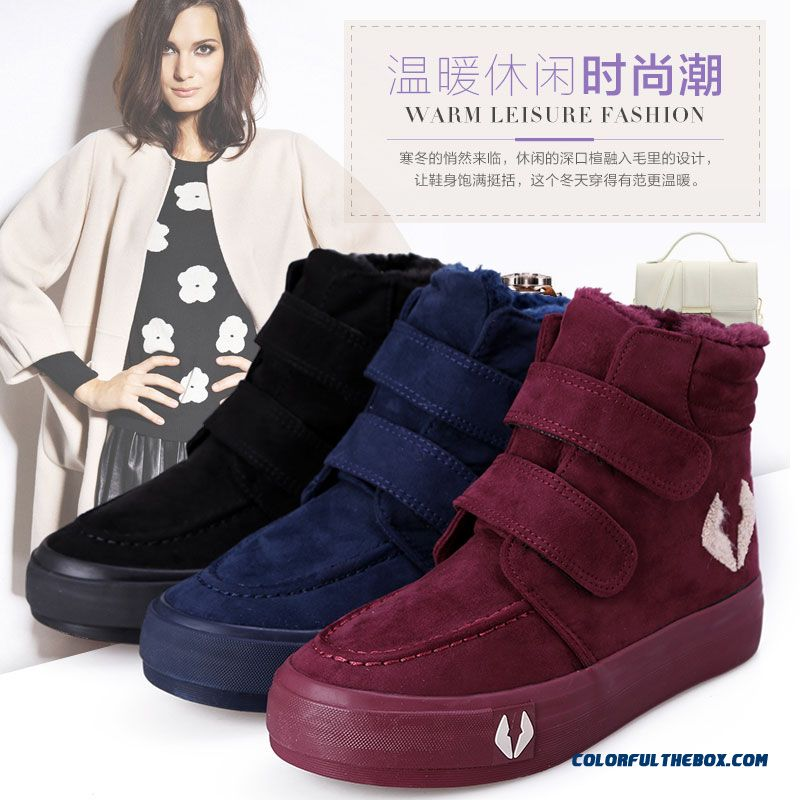 Thicken Warm Winter Women Snow Boots Elcro Shoes Free Shipping