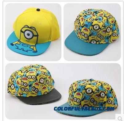 Thief Daddy Little Yellow People Three-dimensional Embroidery Boys And Girls Baseball Flat-brimmed Street Dance Caps