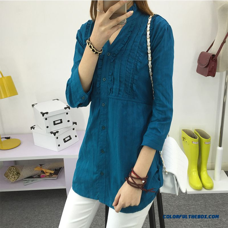 Thin Women Shirts Three Quarter Sleeve Cotton Shirt Standing Collar Blouse Loose V-neck New Listing