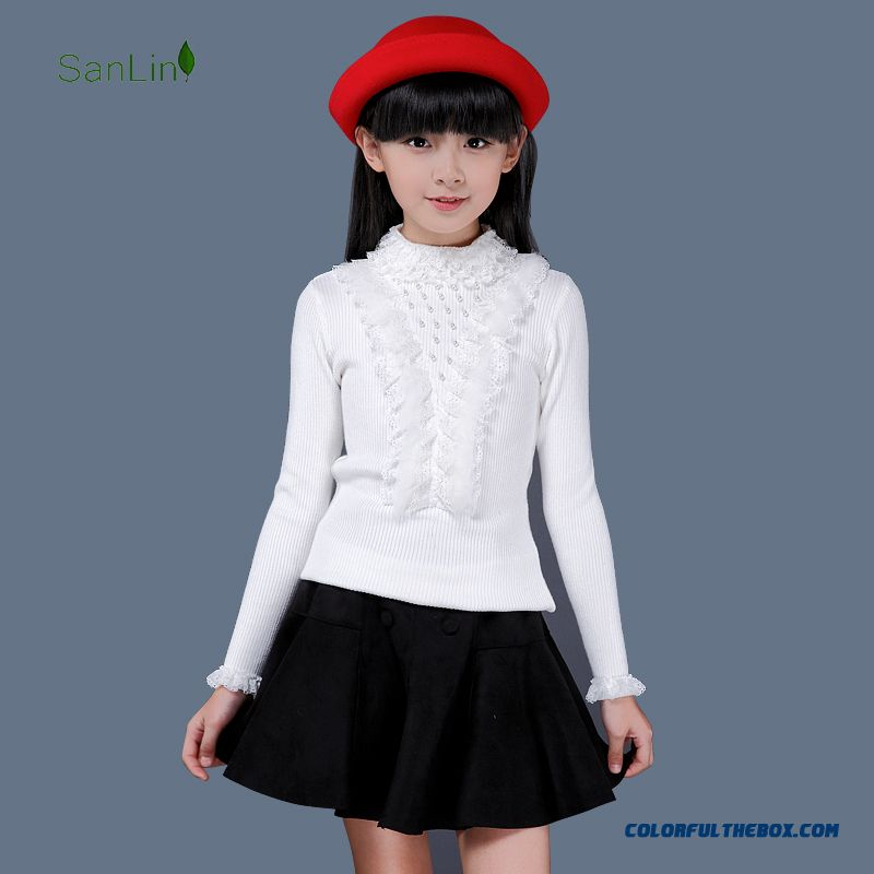 Three Forest Girls Kids Lace Turtleneck Sweater Knit Backing Pullover Long Sleeve Clothing