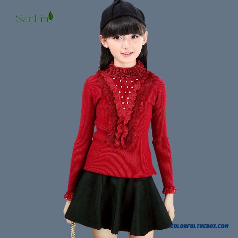 Cheap Three Forest Girls Kids Lace Turtleneck Sweater Knit