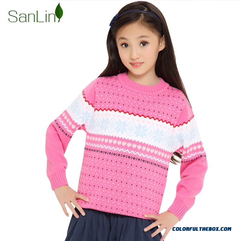 Three Forest Girls Sweater Pullover Knitted Jacket New Autumn Kids Clothing Kids Long-sleeved Striped Sweater