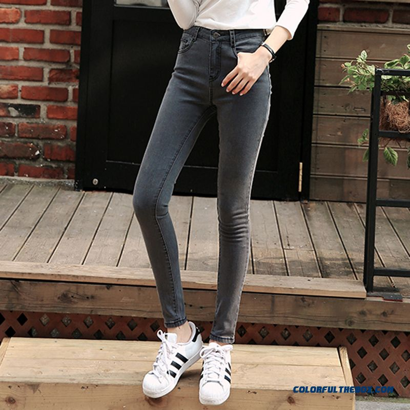 Cheap Tight High Waist Jeans Women Gray Crop Jeans Slim And Thin ...