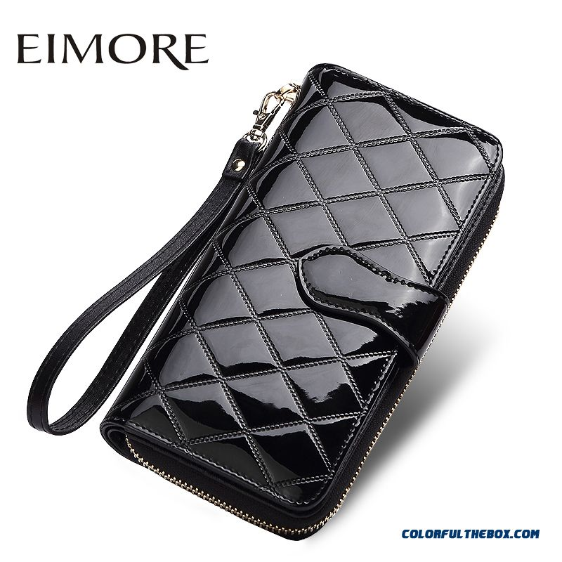 Top Design Patent Leather Long Section Of Women Portable Wallets Diamond Plaid Zipper Hasp Cellphone Bags