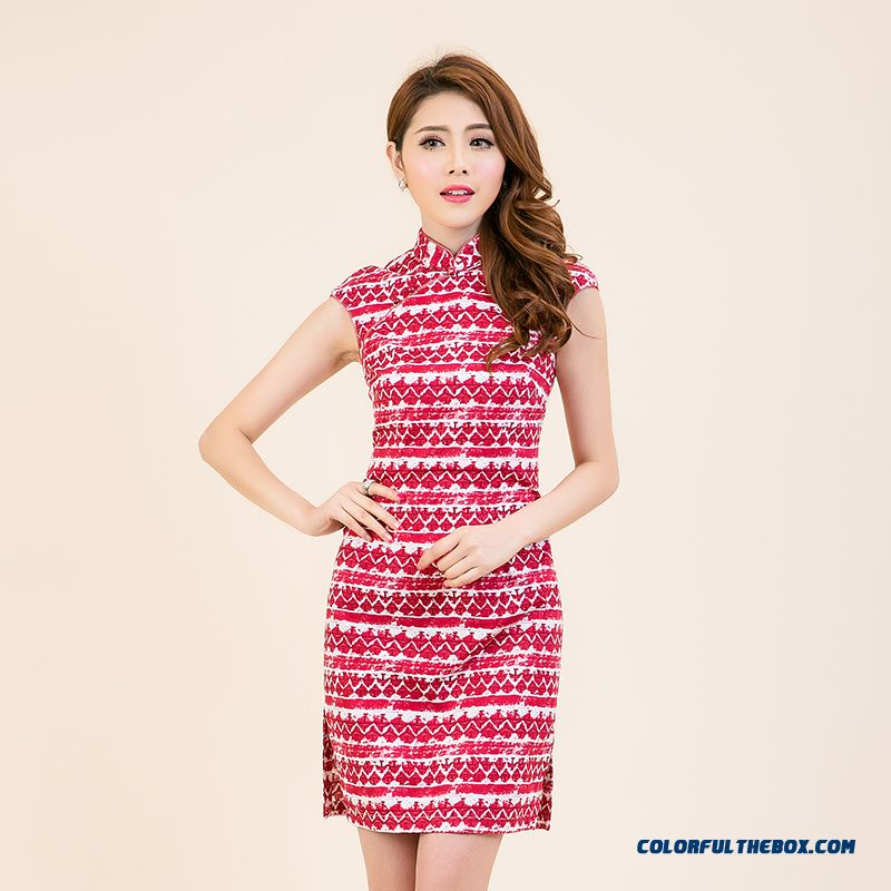Top Grade Ladies Lapel Slim Improved Cheongsam Dress Women