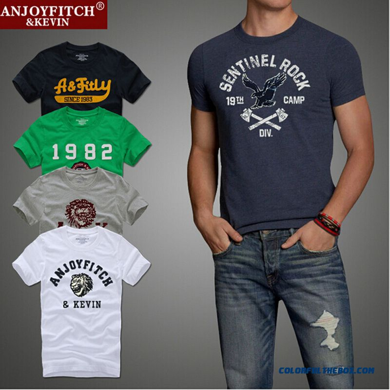 Top Quality Af Anjoy&fitch Brand Casual T Shirt 100% Cotton Tops & Tees Summer Men T-shirt Sport T Shirt Men Fitness Clothing