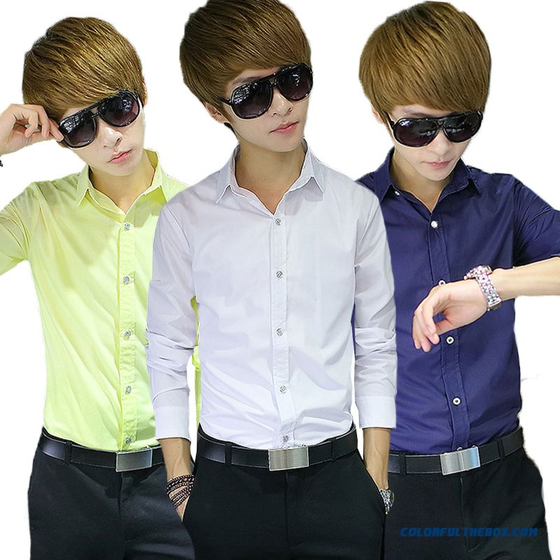 Top Quality New Smen's Casual Long-sleeved Shirt Slim Solid Color Free Shipping