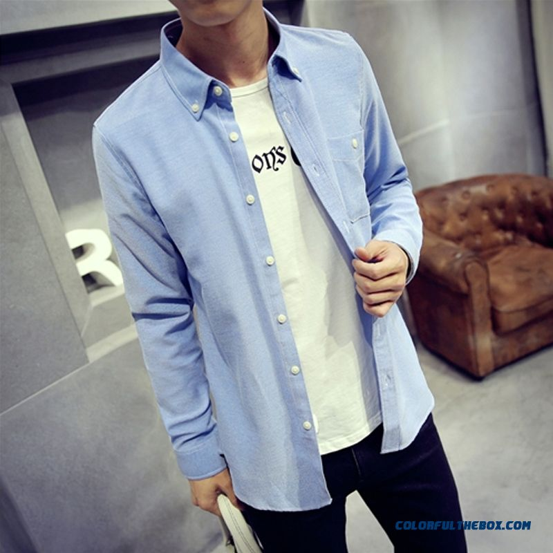 Top Quality Warm Autumn And Winter Men's Long-sleeved Shirt Slim Solid Color Large Size