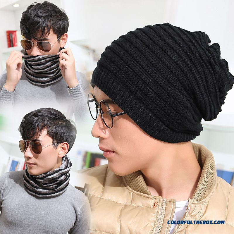 Top Sale Accessories Winter Men Dual Purpose Of Knitted Wool Cap And Scarf