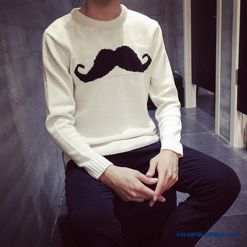 Top Sale Printing New Men's Clothing Pure Color Sweaters Knitwear Pullover Tide