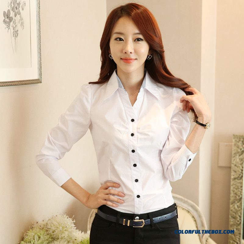 Top Selling Fall And Winter Long-sleeved Cotton Shirt Blouses Slim