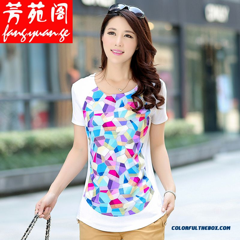 Top Selling Medium Style Cotton Slim Women Short-sleeved T-shirt