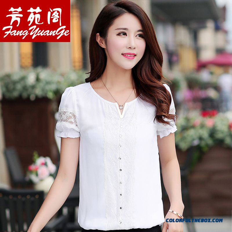 Top Selling Medium Style Lace Loose Summer Women Short-sleeved T-shirt