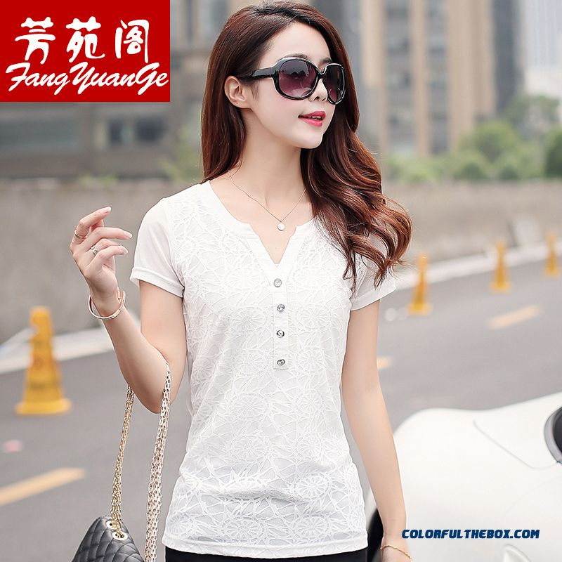 Top Selling Solid Color Lace Slim Medium-long Women Short-sleeved T-shirt