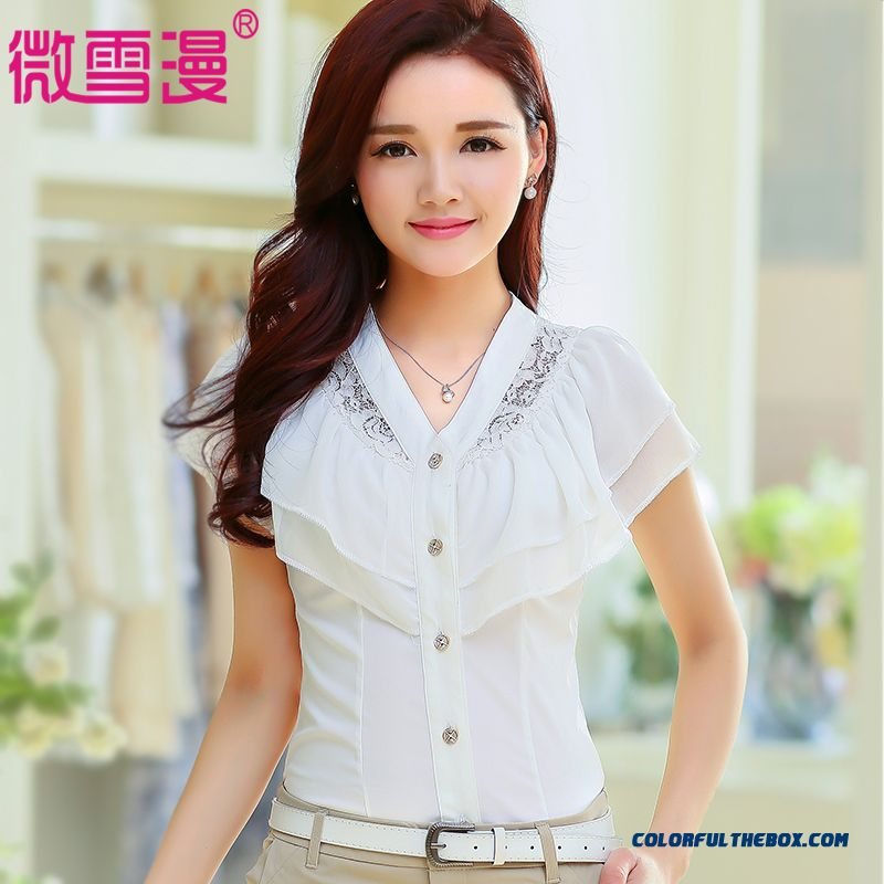 Top Selling Women Loose White Short-sleeved Chiffon Shirt Blouses Soft