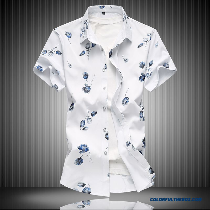 Trend All-match Shirt Summer Short Sleeve White 2019 Men's Leisure Flower Large Size Loose Printing