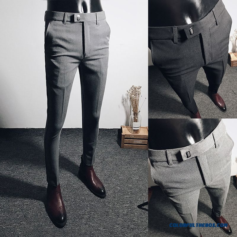 Trend Europe Men's All-match Slim Leisure Gray Suit Pants