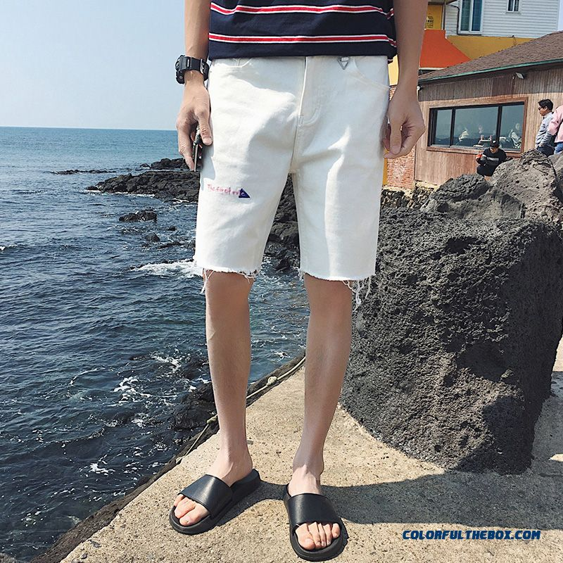 Trend Europe Pants Hole White Black Shorts Short Pants Men's Loose Summer Skinny