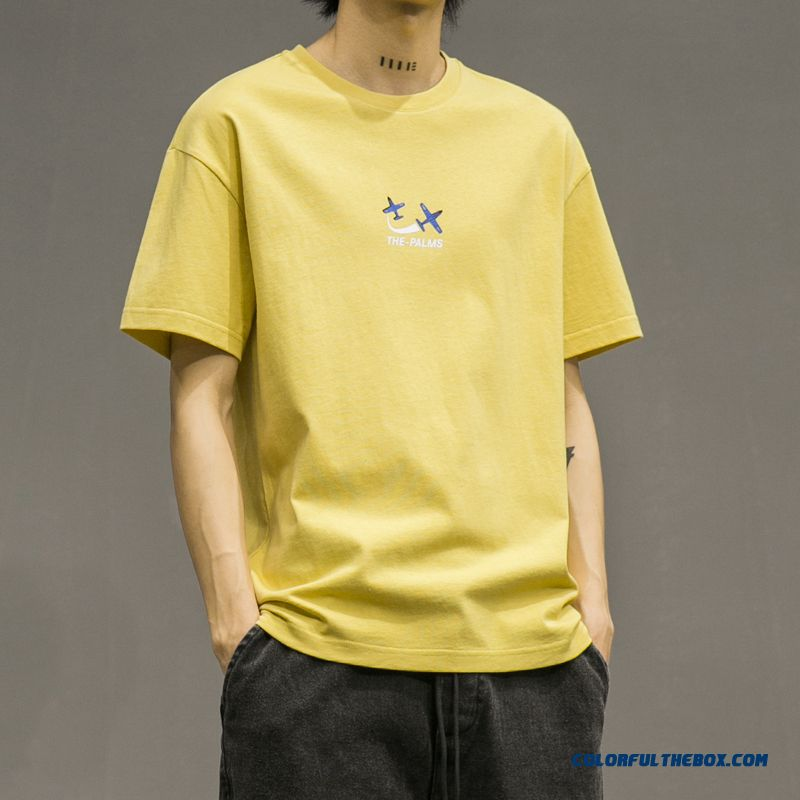 Trend Half Sleeve Summer 2019 Leisure Short Sleeve Yellow All-match Men's New Youth