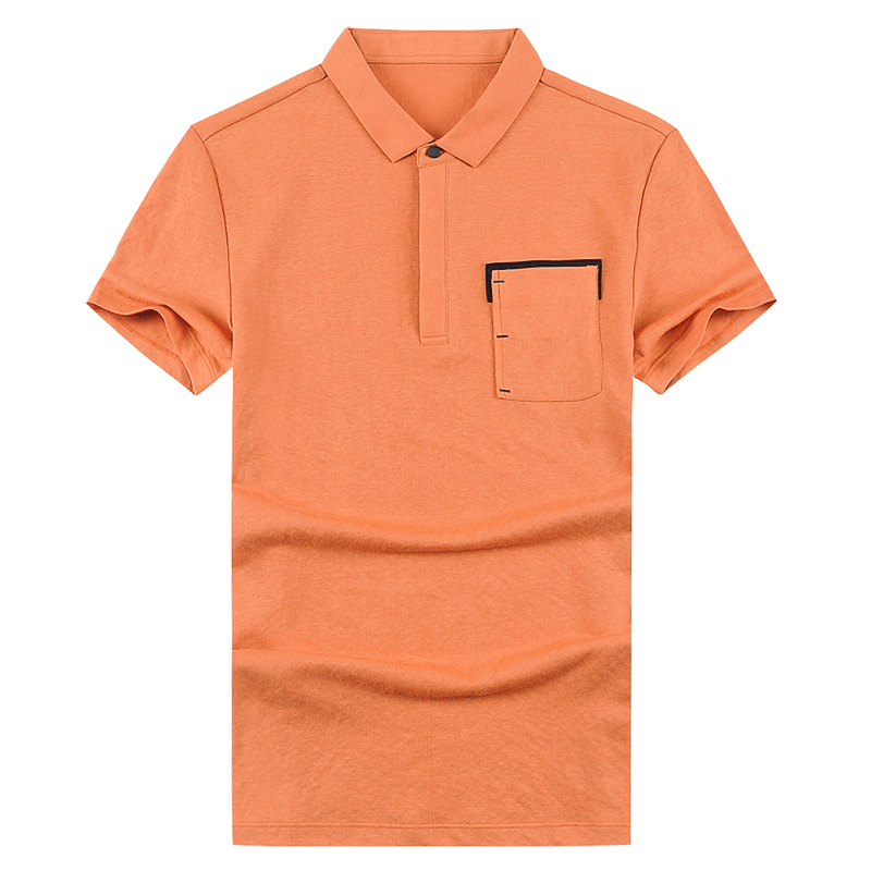 Trend Orange Polo Men's Lapel Short Sleeve