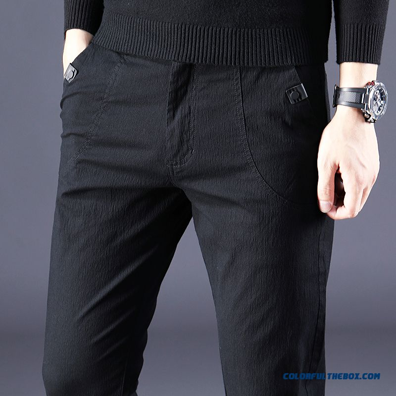 Trend Pants Men's 2019 Spring Skinny Leisure Autumn Black Cotton Summer Pure New Slim