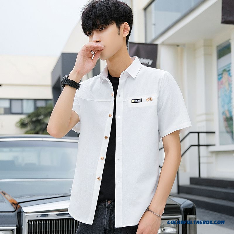 Trend Summer Men's Loose Pure Europe Cotton Shirt Leisure Coat Short Sleeve White