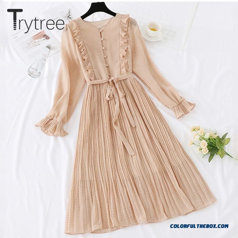 Trytree Spring Summer Dress Vintage Dot Ruffles Women Butterfly Sleeve Shirt Dresses Sashes Mid-calf Empire Pleated Hem Dress