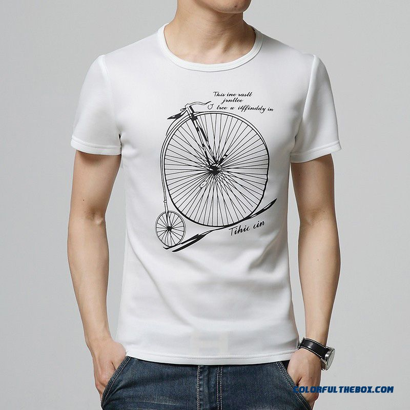 Tshirts Cotton Men Black White Print T-shirt Casual Short Sleeve Camisetas Hombre Plus Size M - 5xl High Quality Men Clothes
