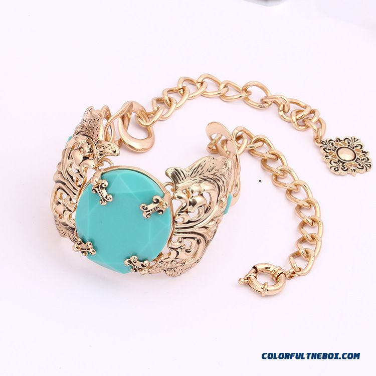Turquoise Inlay Flower Hollow Sm Style Necklace Bracelet Set Women's Fine Jewelry