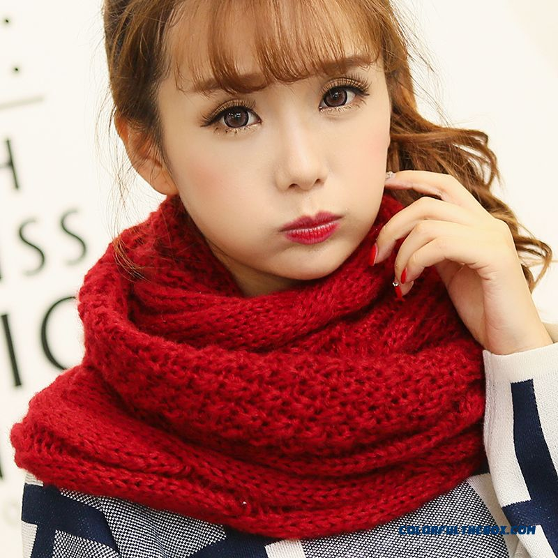 Twist Mohair Wool Scarves Thick Knitted Scarf Dual-purpose Warm Winter Unisex Accessories