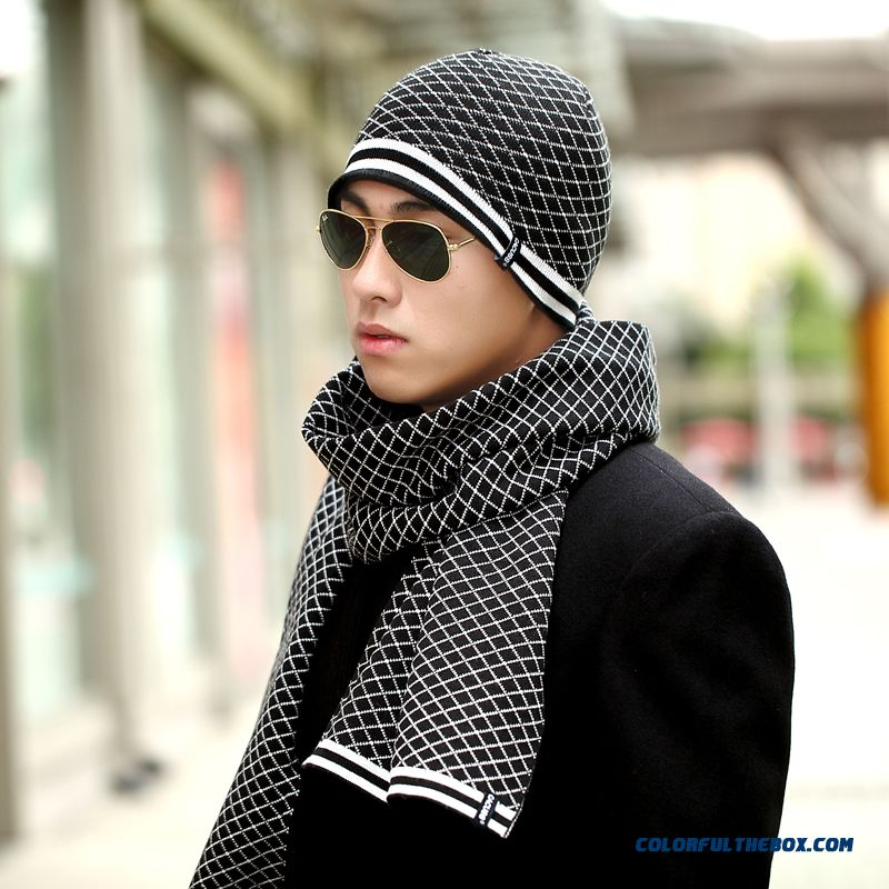 Two-piece Of Men's Autumn & Winter Knit Hat Head Cycling Warm Hat Scarf Set