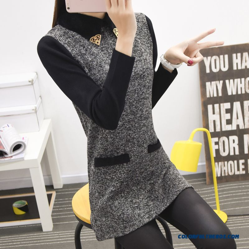 Types Of Clothing False Two Women Clothing Sweater Pull Blouson Bottoming Shirt Lapel